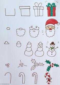 Cute Easy Drawings, Art Drawings For Kids, Art Drawings Sketches Simple, Doodle Drawings, Drawing For Kids, Easy Christmas Drawings, Christmas Doodles, Kids Christmas, Xmas