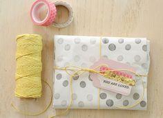 simple polka dot DIY gift wrap