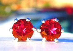 NEW Silver EARRINGS 5mm 3/4ct each VVS+ Top Luster Beautifully Bright Red TOPAZ #Handmade #Stud