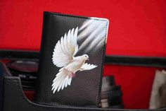 Hand Painted Flying White Pigeon On Leather Card Holder By VKALART