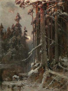 ✨  Julius Sergius von Klever (1850 Dorpat-1924 St.Petersburg) - Verschneiter Winterwald im Abendrot, Öl/Leinwand, kyrillisch signiert, datiert: 1901, 90x66.5 cm