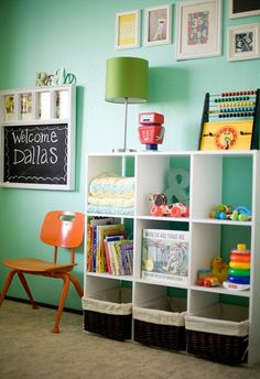 open shelves and baskets for kiddies stuff