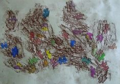 ŽIVOT FANTASKNÍ KVĚTINY - záznam postupných fází růstu prostřednictvím stavebnicových prvků (frotáž kolorovaná akvarelovými barvami) Painting, Scrappy Quilts, Painting Art, Paintings, Painted Canvas, Drawings