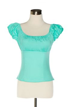 Pinup Girl Clothing Peasant Top - Mint | Pinup Girl Clothing