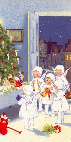 Vintage Christmas card. Again reminds of our church program with our little angels.