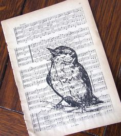 Song bird. Stamp on birds and Frame antique sheet music. Hang above piano