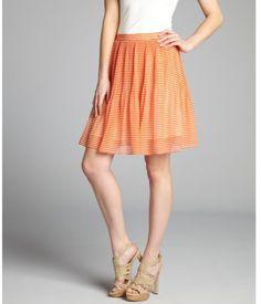 striped pleated skirt   ... Striped Chiffon Accordion Pleated Skirt in Orange (tangerine cream