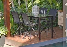 5pce Bergen Bar Table & Beauvais Swivel Bar Chair Aluminium Setting