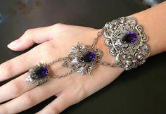 Swarovski  Crystal Slave Bracelet  - Victorian Gothic Jewelry - Purple Velvet Swarovski Silver Bracelet, via Etsy.