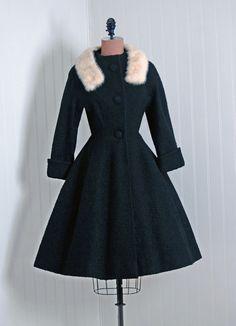 1950's Vintage Lilli Ann Designer-Couture White Mink-Fur & Black-Wool Princess Nipped-Waist Cuffs Full-Skirt Rockabilly Dress-Jacket Coat