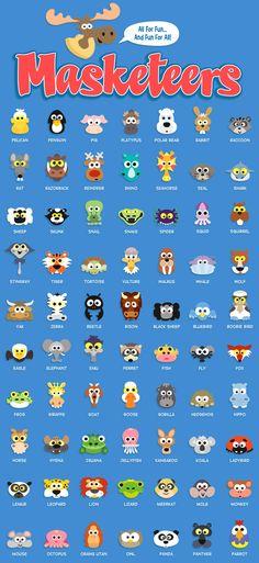 animal masks for kids, kids masks, party masks, printable masks,