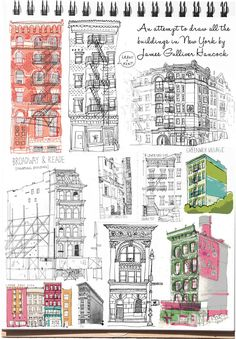Sketchbook inspiration - James Gulliver Hancock is an Australian born New York based illustrator who is attempting to draw all of the buildings in New York Voyage Sketchbook, Art Sketchbook, Sketchbook Inspiration, Journal Inspiration, Drawing Sketches, Art Drawings, Drawing Faces, Drawing Tips, Drawing Ideas