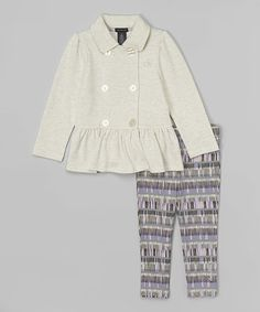 Look what I found on #zulily! Oatmeal Ruffle Jacket & Leggings - Infant, Toddler & Girls #zulilyfinds