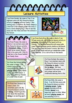 Leisure Activities - ESL worksheet by Esl Writing Activities, English Activities, Time Activities, Educational Activities, Hobbies To Take Up, Hobbies For Kids, English Teaching Materials, Teaching English, Reading Passages