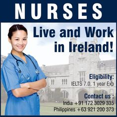 Nurses, get a chance to work in Ireland! - Job Placement with Best Employers - Interview preparations - VISA guidance Enquire now at: nurses4uk@inscol.com  +91 172-3029335 Moving Overseas, Interview Preparation, Nursing Career, Ielts, Dream Job, Nurses, Philippines, Ireland, Being A Nurse