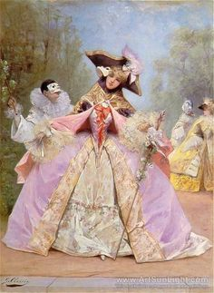 The Masked Ball Artwork By Georges Jules Victor Clairin Oil Painting & Art Prints On Canvas For Sale Masquerade Ball Costume, Masquerade Dresses, Pierrot Clown, Image Halloween, Costume Venitien, Rococo Fashion, 18th Century Costume, Image Nature, 18th Century Fashion