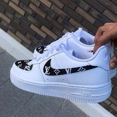 Nike Air Force 1 LV Custom Source by lifeis_goodxo shoes Cute Nike Shoes, Cute Sneakers, Nike Shoes Outfits, Shoes Sneakers, Women's Shoes, Nike Custom Shoes, Platform Shoes, Flat Shoes, Chanel Sneakers