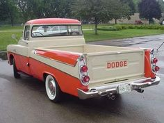 1957 Dodge Pick-up :: In even the pick-ups had fins! Old Dodge Trucks, Vintage Pickup Trucks, Dodge Pickup, Classic Pickup Trucks, Antique Trucks, Vintage Cars, Antique Cars, Lifted Trucks, Pickup Camper