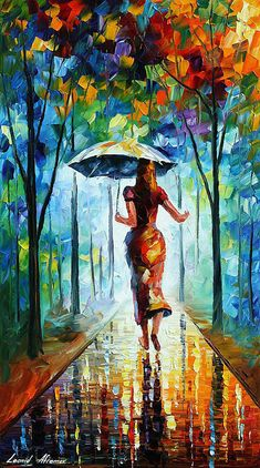 Running Towards Love - original art oil painting by Leonid Afremov Photo: This is an original oil on canvas. I use only a palette-knife for painting. City Painting, Knife Painting, Oil Painting On Canvas, Painting Abstract, Cactus Painting, Umbrella Painting, Woman Painting, Canvas Art, Love Painting