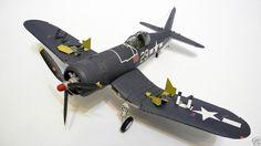 144 133 WWII Detail version F4U Corsair aircraft paper model PDF File