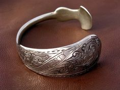Hand Engraved Cuff Spoon Bracelet