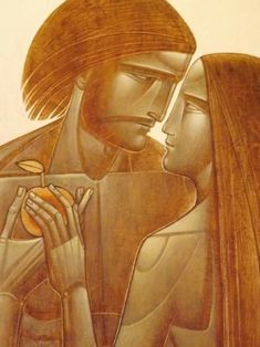 Adam and Eve - Lyuba Yatskiv. Adam and Eve were either middle-brown in color or… Byzantine Icons, Byzantine Art, Religious Images, Religious Art, Christian Religions, Biblical Art, Orthodox Icons, Visionary Art, Sacred Art