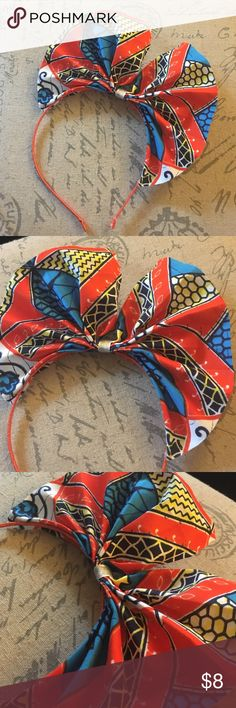 Orange, blue and . By Diyanu African print headband Ankara African print handmade headband. Orange, blue and white vibrant beauti African Accessories, Diy Hair Accessories, African Jewelry, African Attire, African Wear, African Dress, African Style, African Women, African Babies