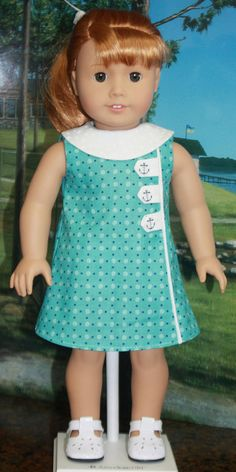 American Girl Style 1960s Dress in Blue Green