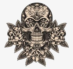 Photo about Skull and roses vector illustration. Illustration of leaf, evil, design - 33176562 Sugar Skull Tattoos, Sugar Skull Art, Sugar Skulls, Sugar Skull Design, Calaveras Mexicanas Tattoo, Caveira Mexicana Tattoo, Tattoo Crane, Los Muertos Tattoo, Catrina Tattoo