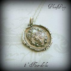 Fleur-de-lis Crest Wax Seal Necklace 6 Fleur de lyse - French Lily Iris via Etsy