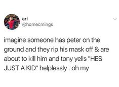 And then Bucky sharpshoots the dude (because obviously) and Tony gets to Peter and then Tony and Bucky's eyes meet AND CIVIL WAR IS OVER THANOS IS DEAD END CREDITS