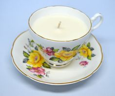 Vintage Teacup Candle - Consort Floral Teacup holding vegan vanilla candle by FinerySoaps on Etsy