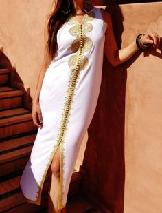 White Non Sleeve Kaftan Caftan-Kenza-Kaftan, Caftan, resort wear, lounge wear,beach cover up, beach wear, beach wedding, birthday gifts