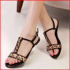 349f93355e2a9 2014 Summer New Fashion Sexy Leopard Flat Sandals Cut-Outs T-Strap Women  Sandals Ladies  Casual Shoes