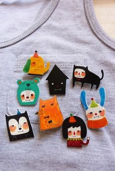 Shrink Plastic Brooches! by arlene