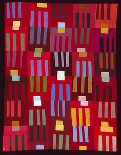 These vibrant quilts are by Illinois artist Leslie Joan Riley . To see more of her work go to her website .
