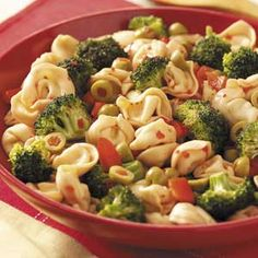 Party Tortellini Salad - made it for a shower and got rave reviews. I par boiled the broccoli though. Just enough to take the crunch out so as to blend in with the rest of the dish.