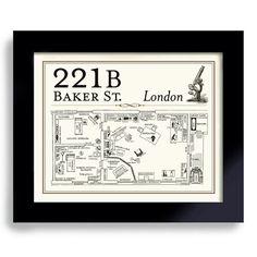 221B Baker Street, Sherlock BBC, English Art, London England, British, Bar Sign, Sherlock Holmes