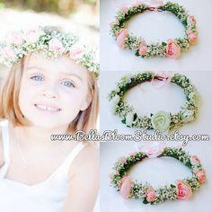 Blush Flower Crown - Blush Flower Girl Crown, Newborn flower crown, Baby flower crown, baby headpiece,newborn headband,newborn photo prop