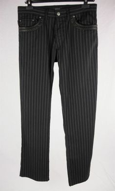 CORTIGIANI Italy Mens Black & Gray Pinstripe Pants Leather Trim Sz It 48 USA M #CasualPants
