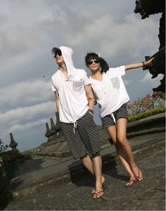 Fashion Short Sleeve Hoodie and Striped Short Shot Couple Clothing H68355 : Tidebuy.com