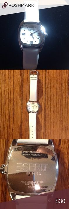 Esprit women's watch Gently used - Esprit ladies watch with white leather band. Water resistant.  Needs new battery. Esprit Accessories Watches