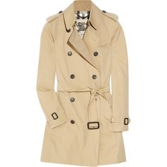 Burberry London Mid-length cotton-gabardine trench coat ($1,395) ❤ liked on Polyvore featuring outerwear, coats, jackets, tops, cotton trench coat, burberry, burberry trenchcoat, beige coat and gabardine coat