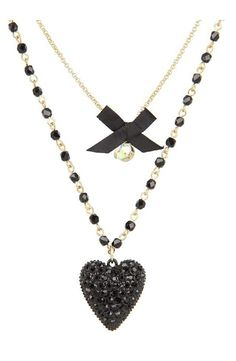Betsey Johnson Iconic Glitter Heart Two-Row Necklace (Black) Necklace - Betsey Johnson, Iconic Glitter Heart Two-Row Necklace, B06406-N01, Jewelry Necklace General, Necklace, Necklace, Jewelry, Gift - Outfit Ideas And Street Style 2017