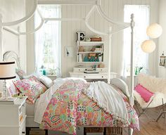 Smart Ideas For Fashionable Teenage Girls Room Designs : Vintage White Based Fashionable Teenage Girls Room with Modern Canopy Bed and Cute ...