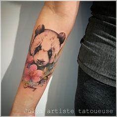 Panda tattoo by julya tattoo artist Panda Bear Tattoos, Animal Tattoos, Amazing Tattoos, Cool Tattoos, Cute Drawings, Tattoo Photos, Tattos, Tattoo Artists, Body Art