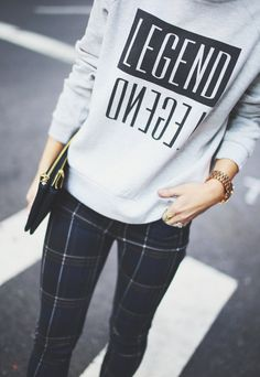 Plaid plants, sweater, clutch