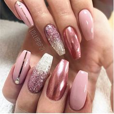 Baby pink glitter fade chrome nails