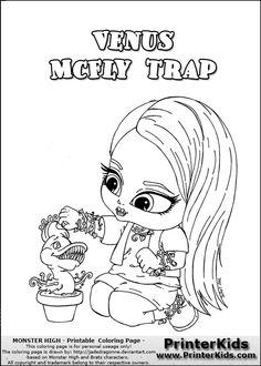 view read about print or download the monster high venus mcfly trap baby chibi cute coloring page sheet the coloring page is available as pdf or png