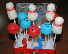 bowling balls and pins - cake pops for James' 6th birthday.
